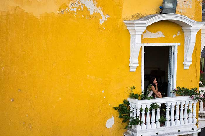 Colonial house balcony window