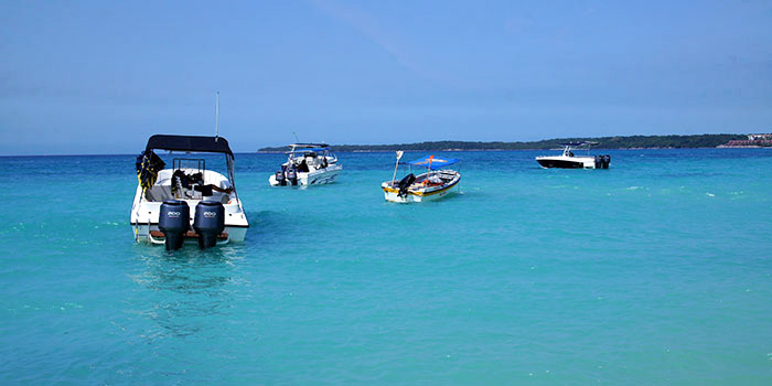 Boats off Playa Blanca