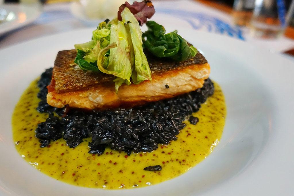 Fish and Black Rissotto