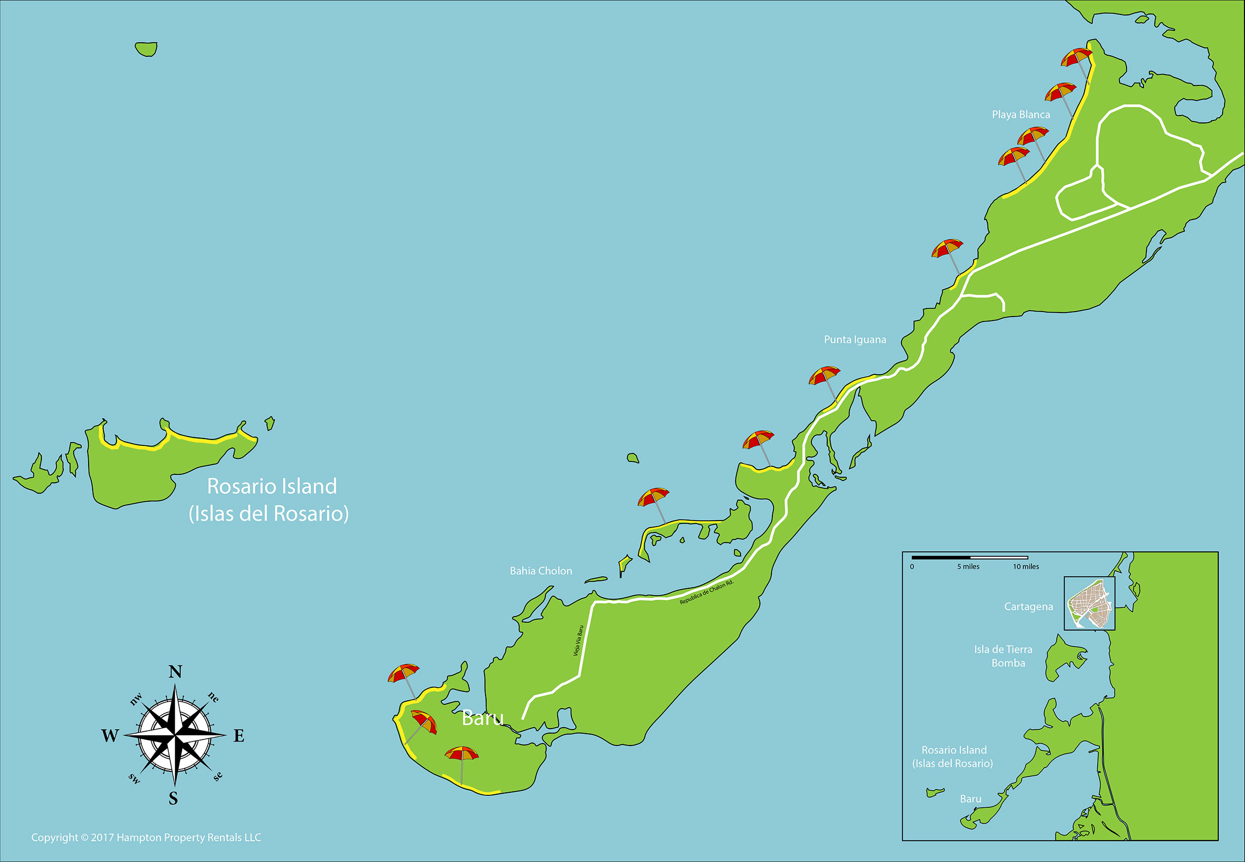 Map of Rosario Islands and Baru Cartagena Colombia Rentals
