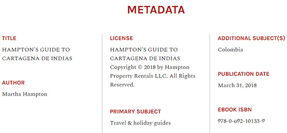 HAMPTON'S GUIDE TO CARTAGENA DE INDIAS Martha Hampton - Metadata