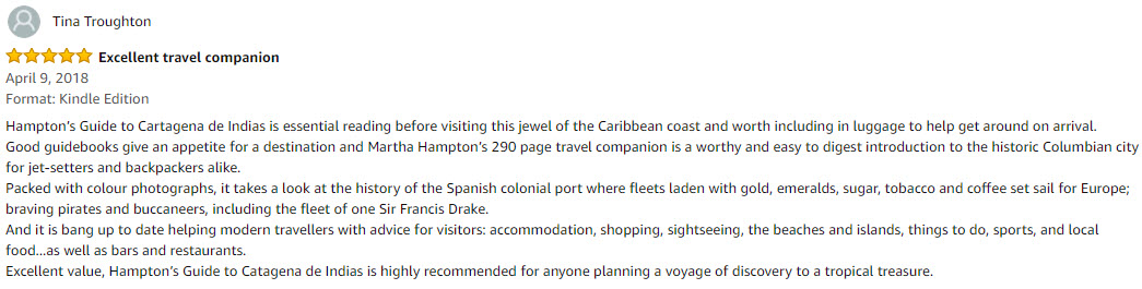 Hampton's Guide to Cartagena De Indias book review by Tina
