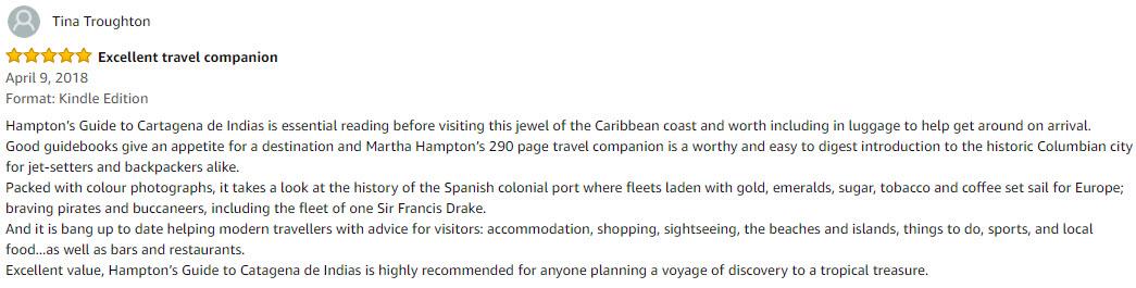 Hampton's Guide to Cartagena De Indias book review by Tina