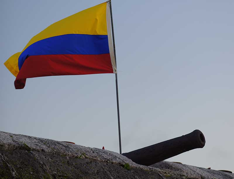 Colombian Flag Flying on top of the Old City Wall of Cartagena