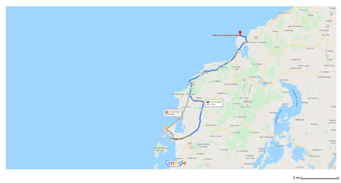 Cartagena to Salinas de Galerazamba